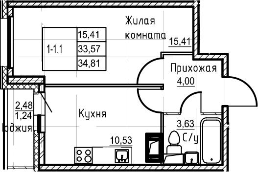 1-к.кв, 34.81 м²