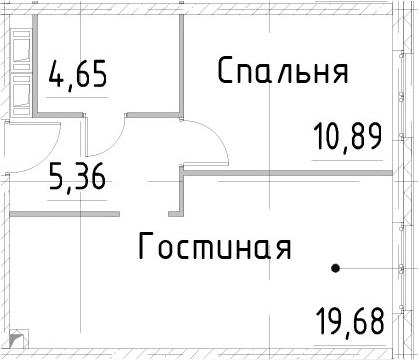 2Е-комнатная квартира, 40.57 м², 22 этаж – Планировка