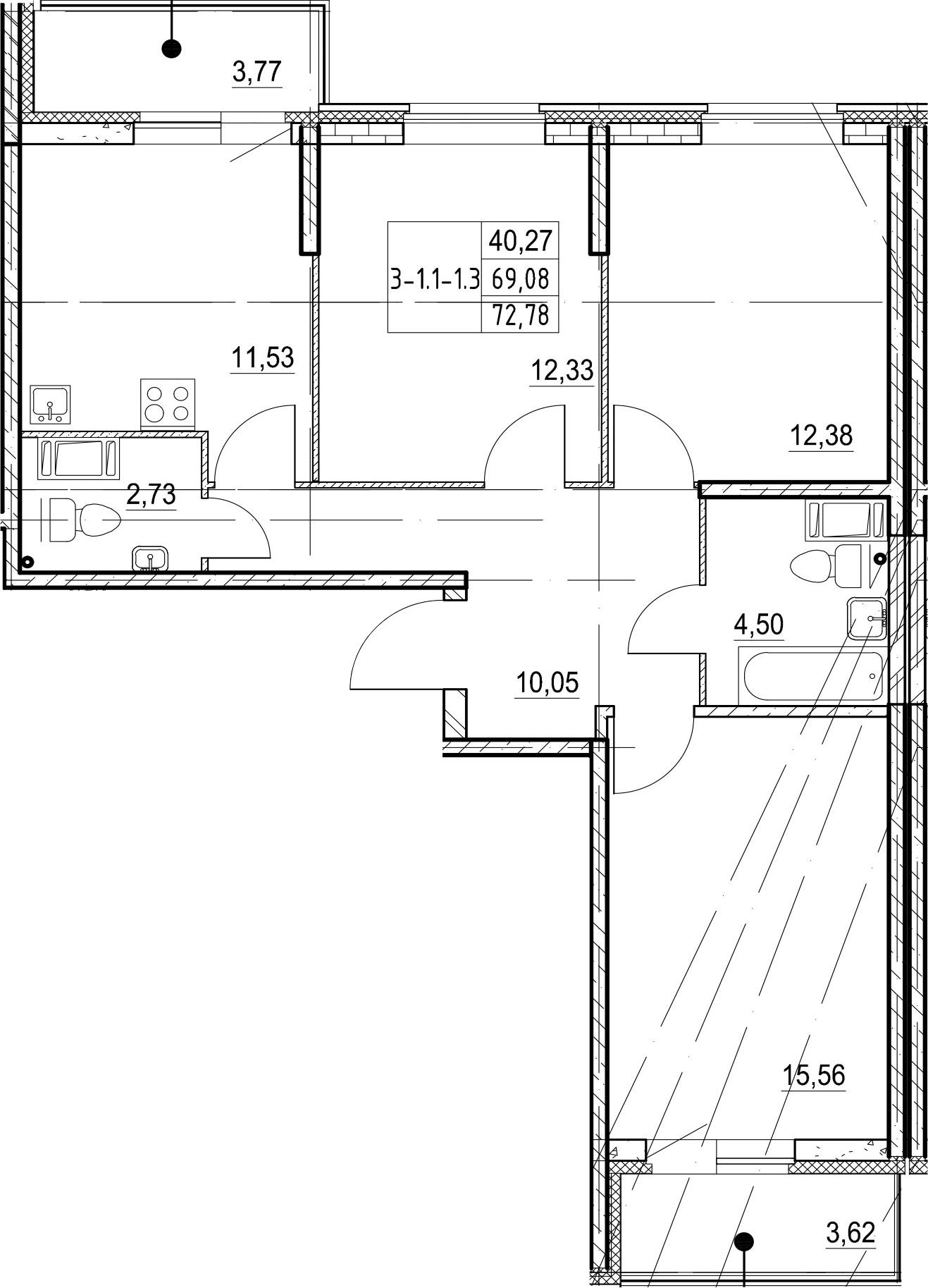 3-к.кв, 72.78 м²