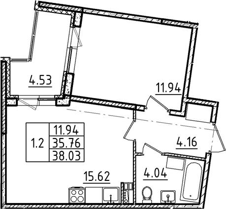 2Е-к.кв, 38.03 м²