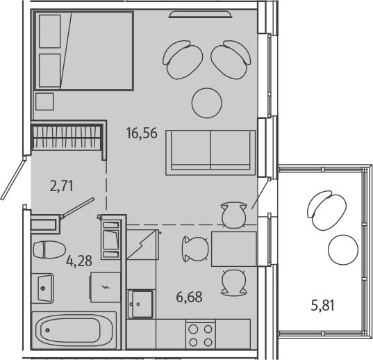 1-к.кв, 36.03 м²