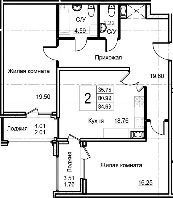 2-к.кв, 84.69 м²