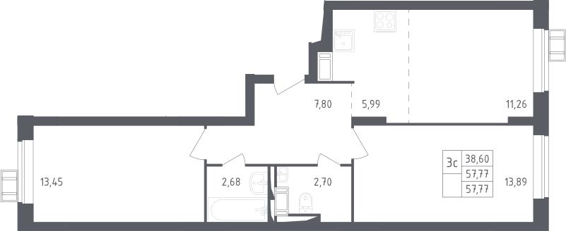 3Е-к.кв, 57.77 м², 17 этаж