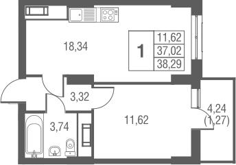 2-к.кв (евро), 41.25 м²
