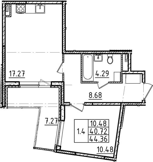 2Е-к.кв, 44.36 м²
