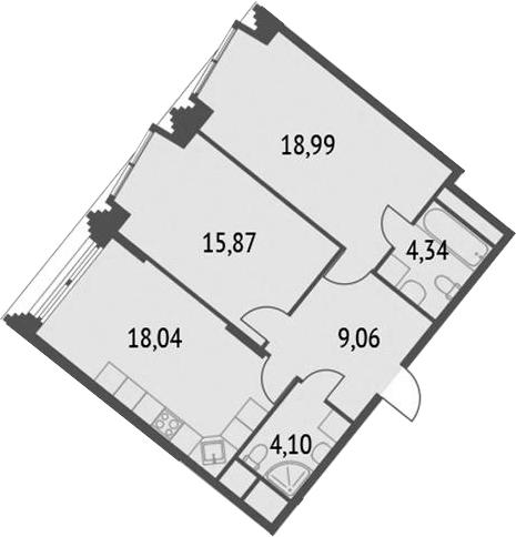 3-к.кв (евро), 70.39 м²