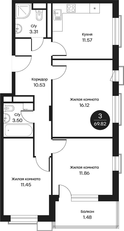 3-к.кв, 69.82 м²