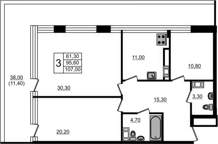3-комнатная, 107 м²– 2