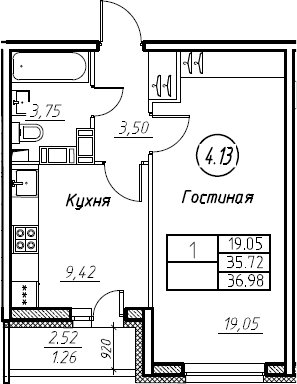 1-комнатная, 36.98 м²– 2
