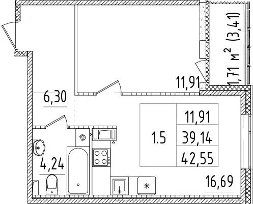 2Е-комнатная, 39.14 м²– 2