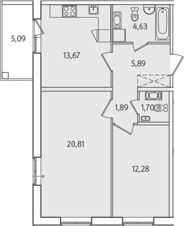 2-к.кв, 63.42 м², от 2 этажа