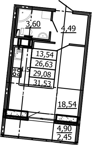 Студия, 26.63 м²– 2