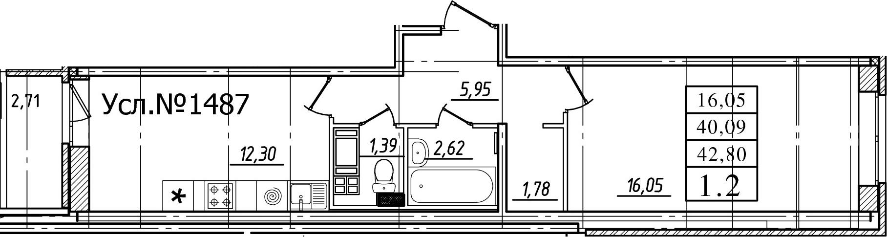 1-комнатная, 40.09 м²– 2