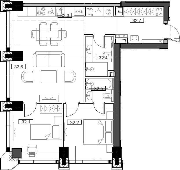3Е-комнатная, 64.68 м²– 2