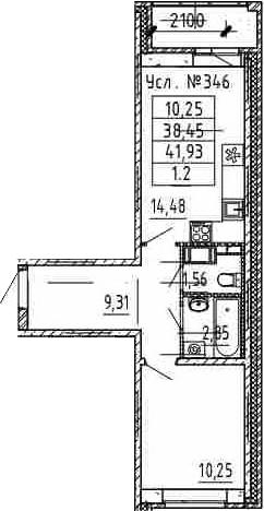 1-комнатная, 38.45 м²– 2