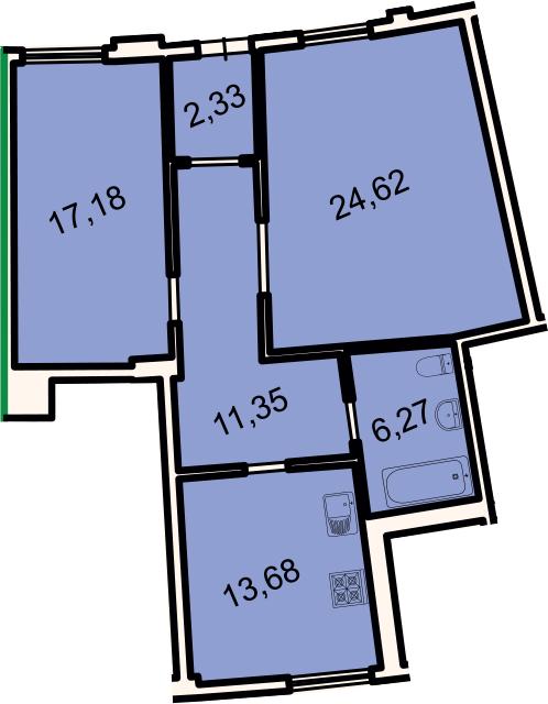 2-к.кв, 75.4 м²