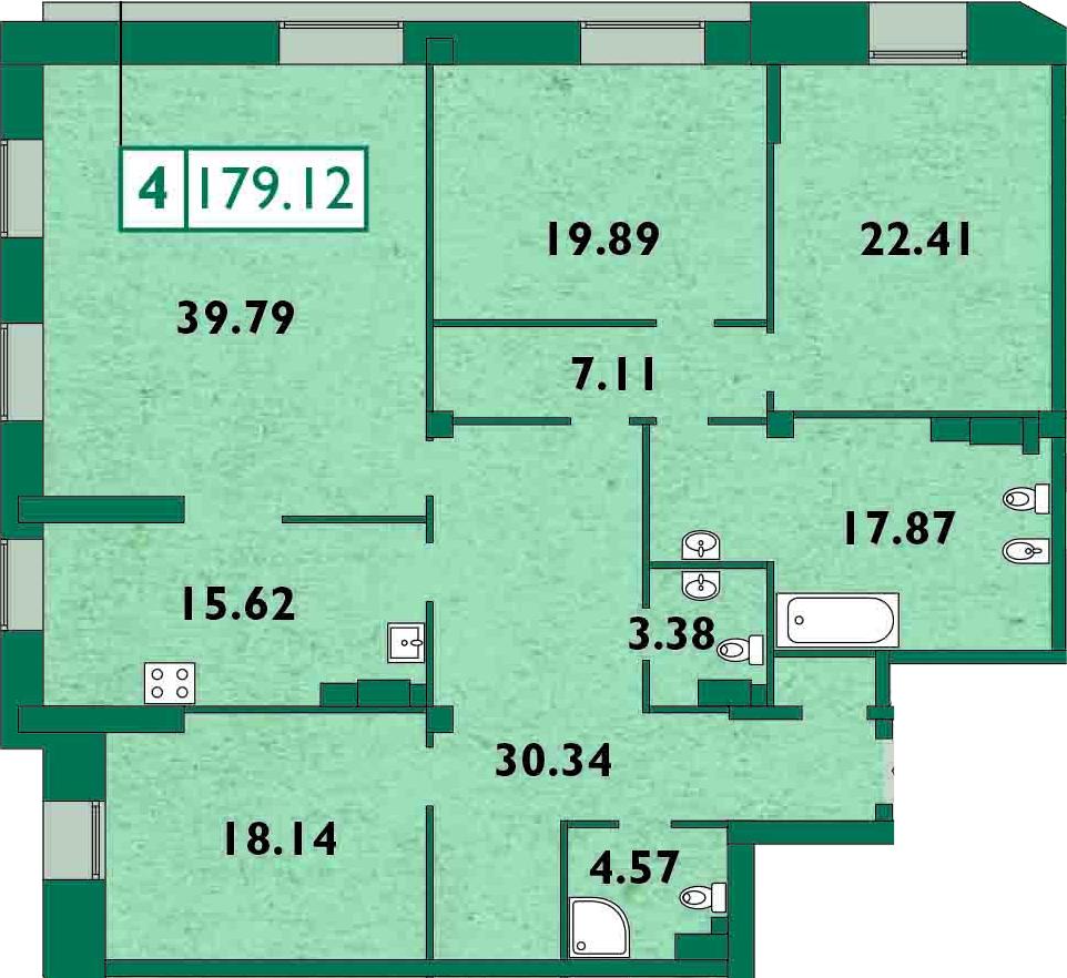 5-к.кв (евро), 179 м²