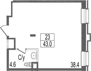 Своб. план., 43 м²