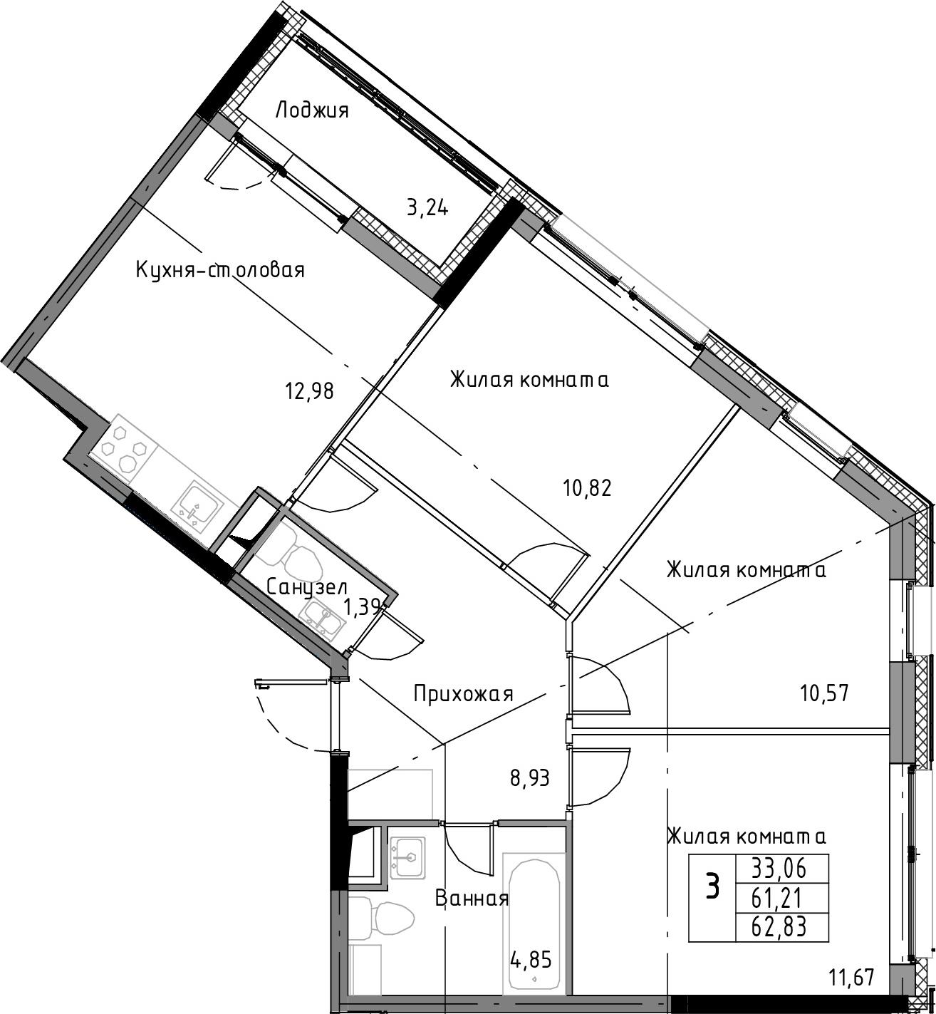 3-к.кв, 64.45 м²