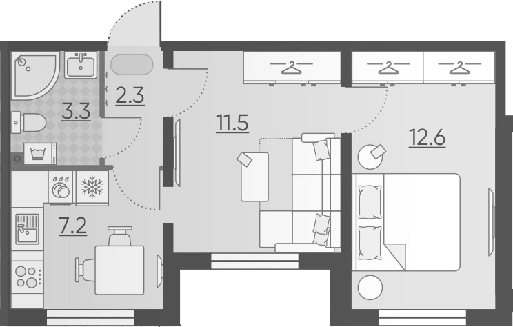 2-к.кв, 36.9 м²