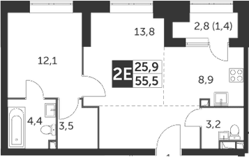 2Е-комнатная, 55.5 м²– 2