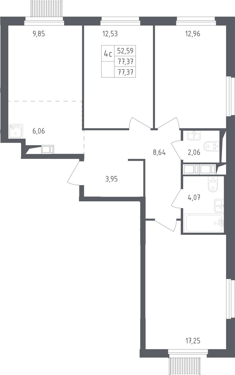 4-к.кв (евро), 77.37 м²