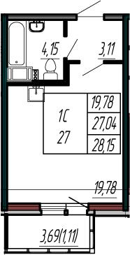 Студия, 27.04 м²– 2
