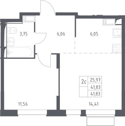 2Е-комнатная, 41.83 м²– 2
