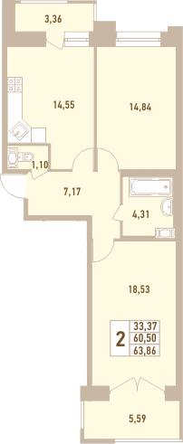 2-к.кв, 63.86 м²