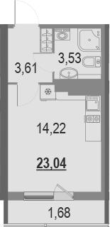 Студия, 23.04 м²– 2