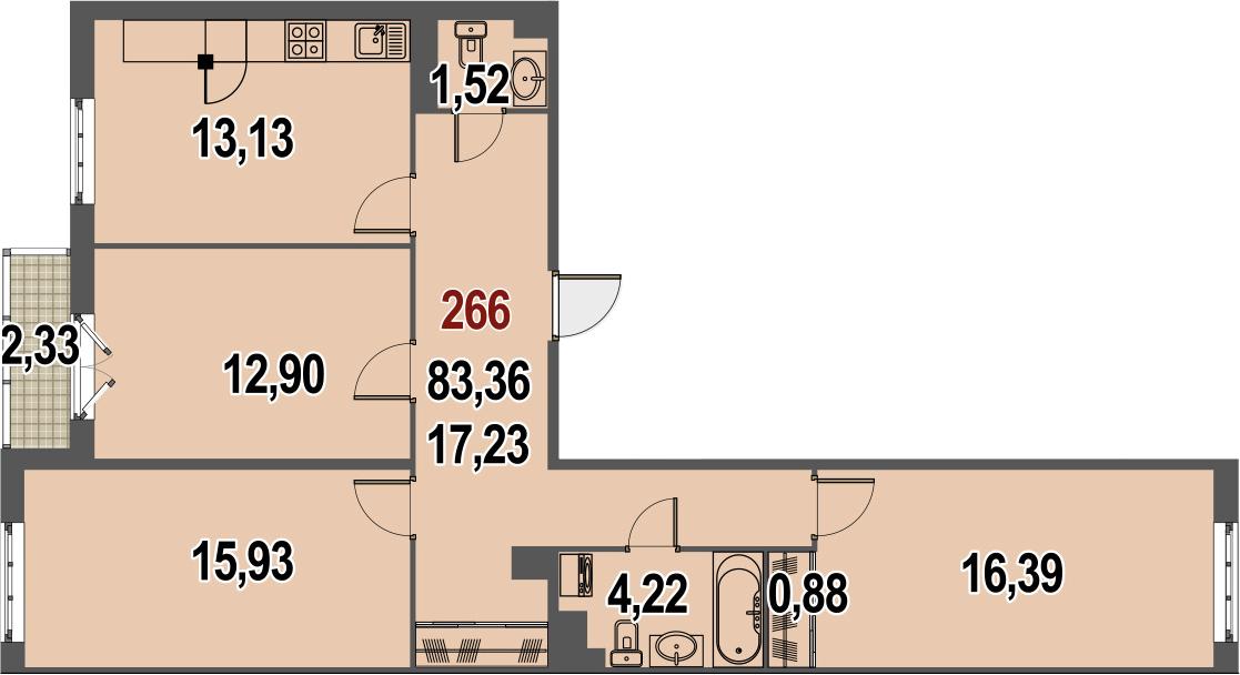 3-к.кв, 84.52 м²