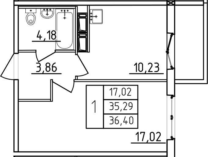 1-к.кв, 36.4 м², от 3 этажа