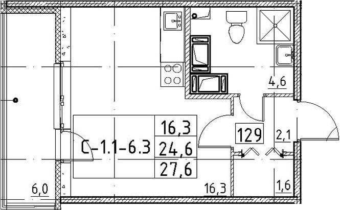 Студия, 27.6 м², от 3 этажа