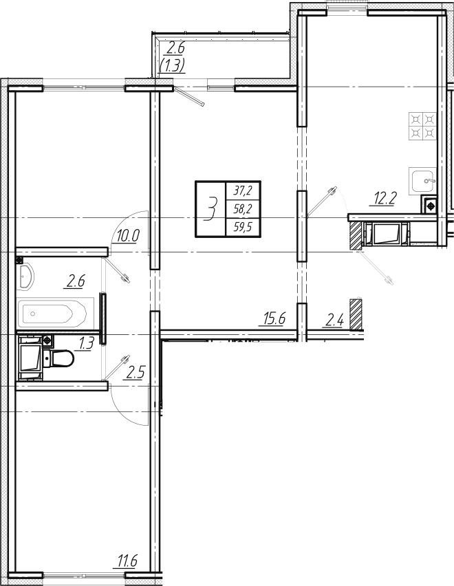 3-комнатная, 59.5 м²– 2