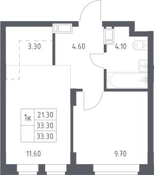 2Е-к.кв, 33.3 м², 8 этаж