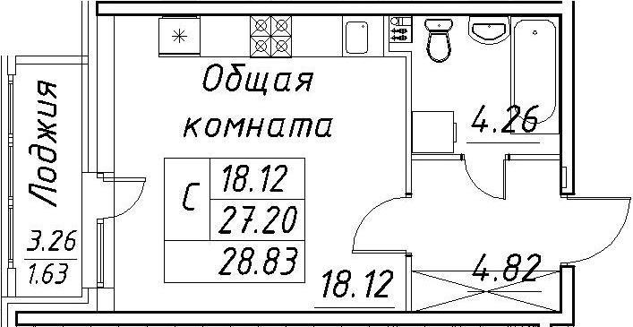 Студия, 30.46 м²
