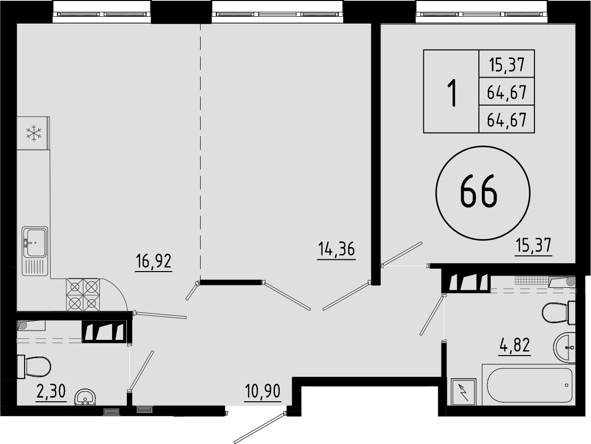 2-к.кв (евро), 64.67 м²