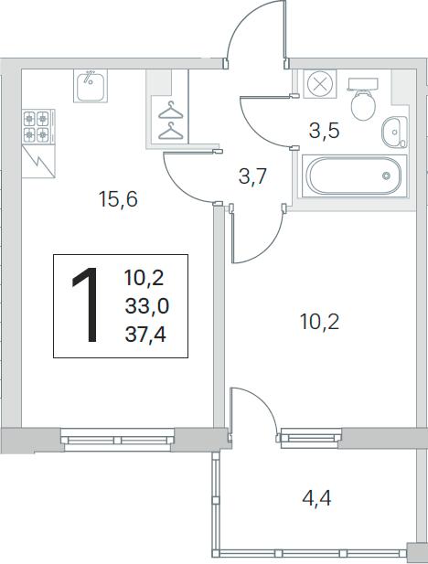2Е-комнатная, 33 м²– 2