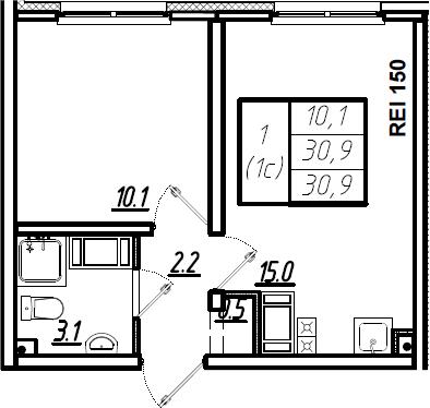 2Е-к.кв, 30.9 м², 6 этаж