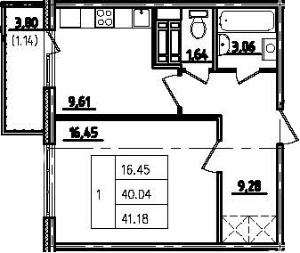 1-к.кв, 43.84 м²