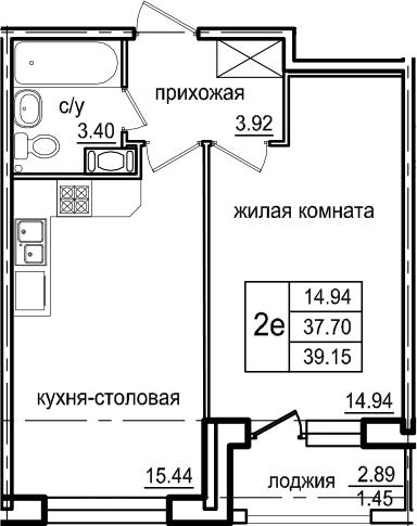 2Е-к.кв, 39.15 м², 4 этаж