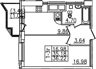 1-к.кв, 38.65 м²