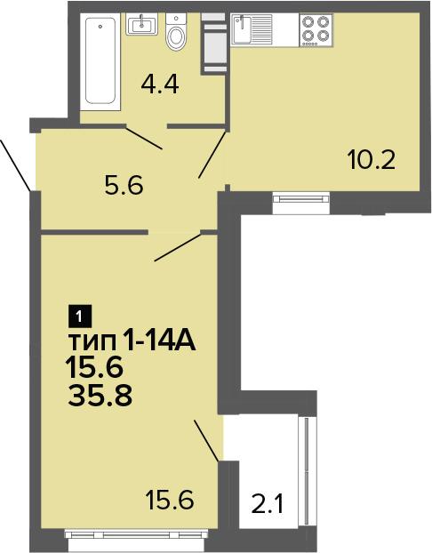 1-к.кв, 41.6 м²