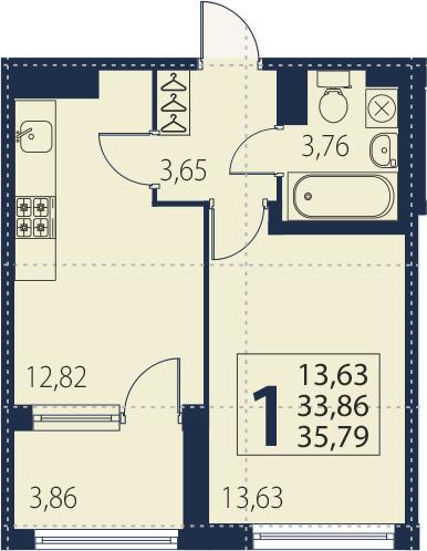 1-к.кв, 33.86 м², 5 этаж