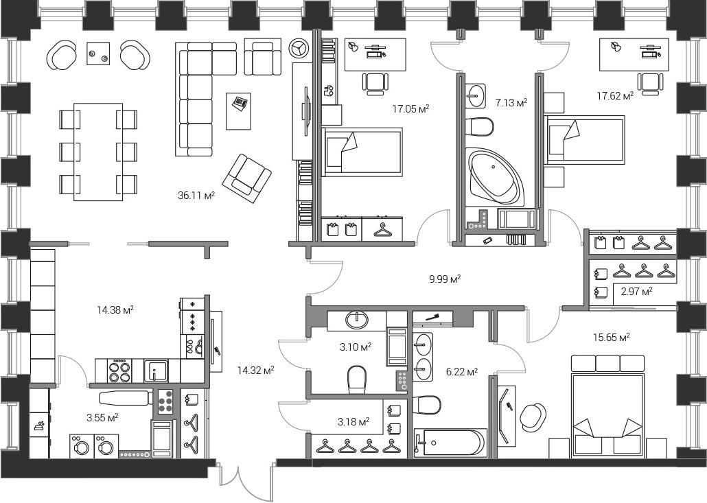 4Е-комнатная, 151.27 м²– 2