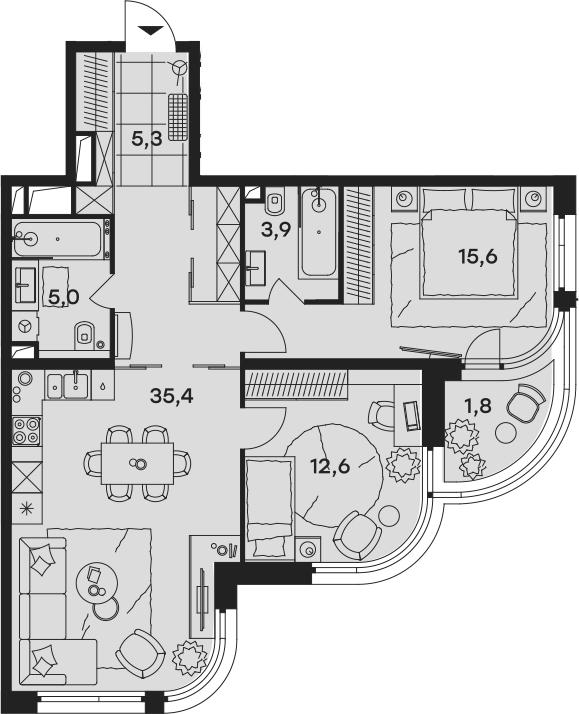 3Е-к.кв, 79.6 м², от 3 этажа