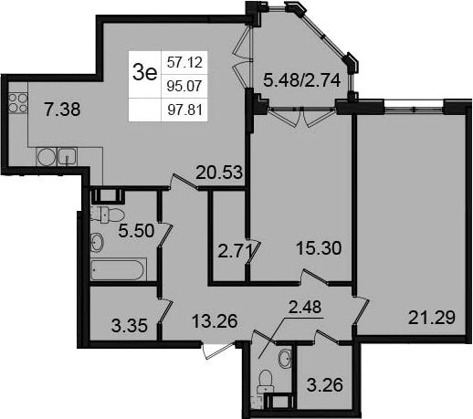 3-к.кв (евро), 100.55 м²