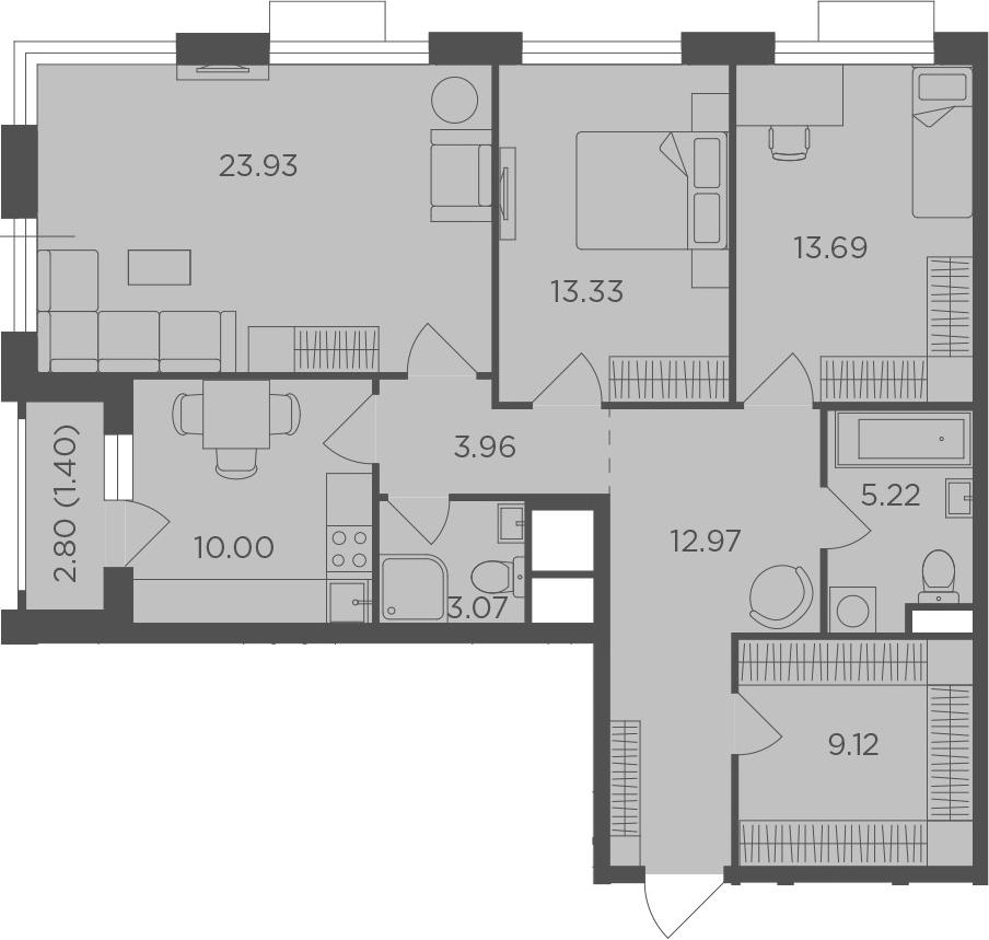 3-к.кв, 96.69 м²