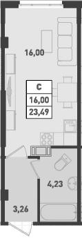 Студия, 23.49 м², от 10 этажа