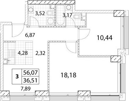 2-к.кв, 56.07 м²